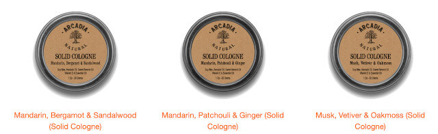 Arcadia Natural Solid Cologne Comes In A Variety Of Scents. Photo: ©arcadia-us.com