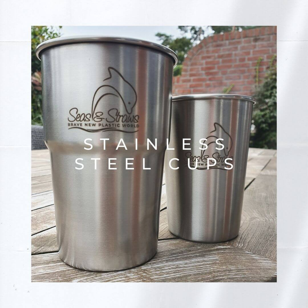 Sustainable Products - Stainless Steel Cups. Photo: Seas & Straws