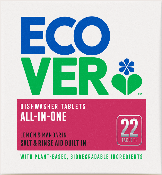 The EcoVer dishwasher tabs are plastic-free and safe for the environment. Photo: © www.ecover.com