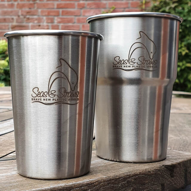 My Enviro-Cups, branded with my Seas & Straws logo. Photo: ©Seas & Straws