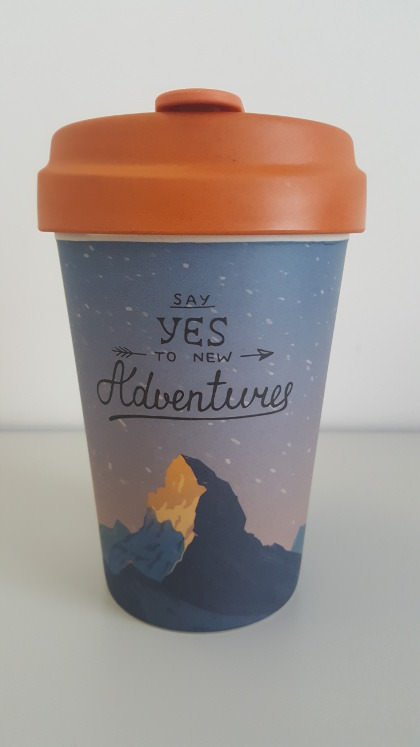 Bamboo Cup 'Say Yes to New Adventures'. Photo: Seas & Straws