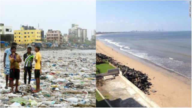 Mumbai beach before and after the world's largest cleanup
