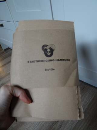 Paper garbage bags given out by the city of Hamburg