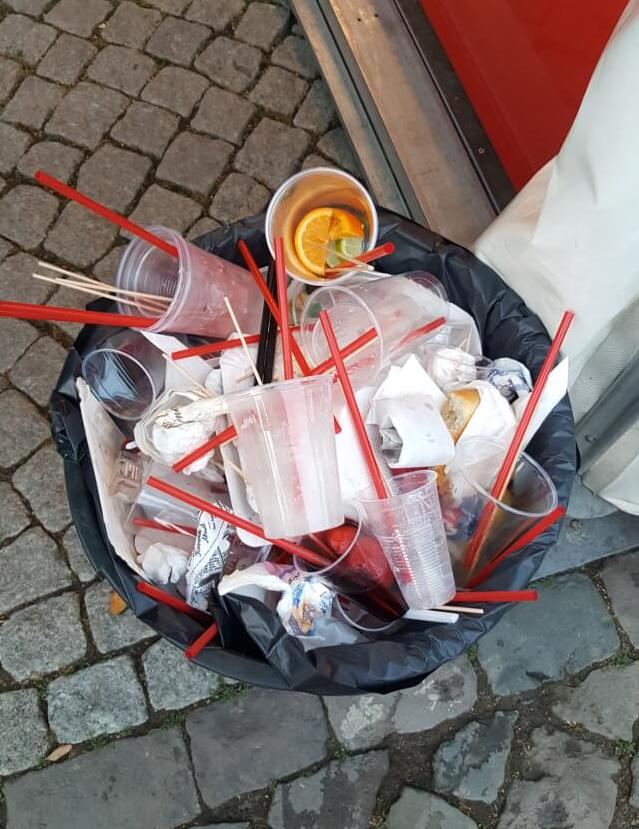 PLA plastic cups at a festival