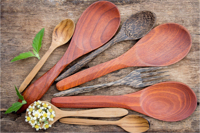 You can find reusable cutlery sets in various kinds of wood. Seas & Straws