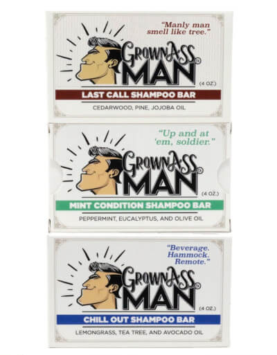 Grown Ass Man Shampoo Bars Come In Three Woodsy Scents. Photo: ©grownassman.co