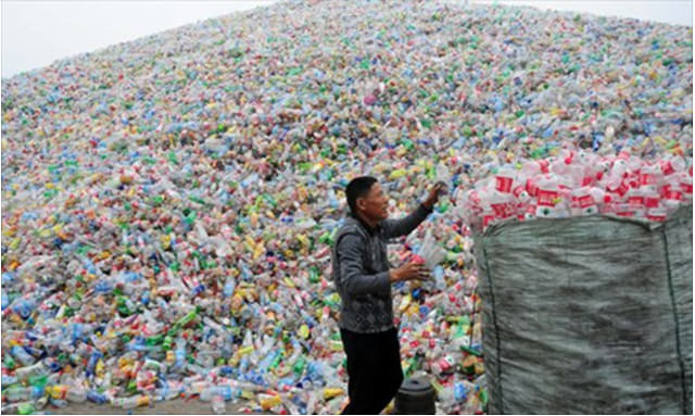 A mountain of plastic bottles