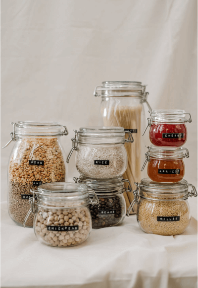 You can use whatever glass jars you have to store your food.